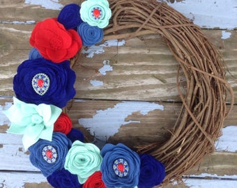 """Jeweled Blue, Red and Mint Felt Flower Wreath.  14"""" Grapevine Wreath"""