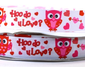 78 valentine ribbon valentine owl hoo do u love grosgrain