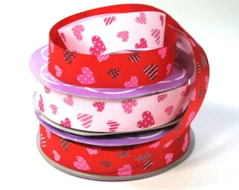 """7/8"""" Hearts on Pink or Red Grosgrain Ribbon"""