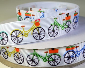 "Colorful Bicycles - 7/8"" Grosgrain Ribbon"