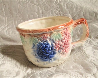 Antique English Cup, english majolica, 1800's ceramics, english teacups, handpainted cups, victorian pottery