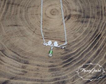 Birds jewel, lovebirds necklace, gold necklace, nature jewels, nature necklace, minimalist jewelry, elegant jewelry