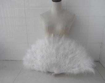 Turkey Marabou Feather Fan Burlesque Dance feather fan 16*32inch Large Fan White