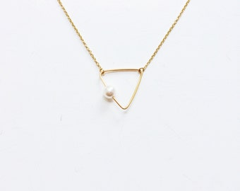 Gold Triangle Necklace,Pearl Necklace,14K Gold Filled,Dainty Chain