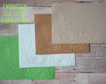 Embossed Seashell Cardstock/ Embossed Cardstock / Seashell cardstock / cardstock/ embossed paper / beach cardstock/ starfish/ beach