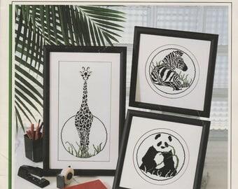 Nature in Contrast Cross Stitch, Giraffe, Panda, Zebra