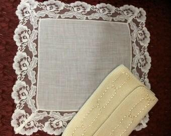 Antique Victorian Wedding bridal handmade vintage lace handcerchief