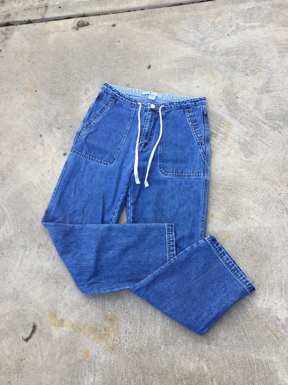 Vintage 90s TOMMY HILFIGER blue jeans // high rise board pants // medium wash small straight leg semi-flare jeans // 30 waist w drawstring