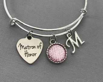 Matron of Honor Gift - Matron of Honor Proposal -  Pink Wedding Jewelry - Wedding -Matron of Honor bracelet - Matron of Honor Jewelry