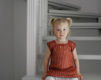 Organic wool red dress for girl, size 2 years