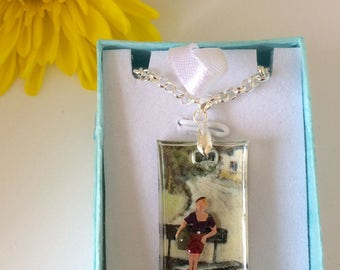 SOLD On the Road Again' pendant necklace. Quirky, tiny people, resin, Made in England, gift,
