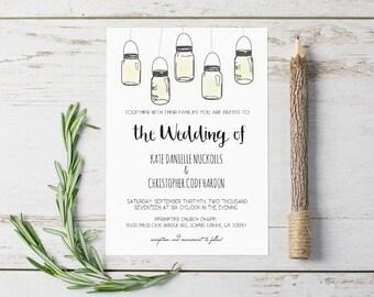 Rustic DIY Wedding Invitations Templates, Mason Jar Wedding Invitations Templates,  Instant Download Printable Wedding Invitations, Editable