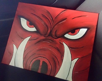 Arkansas Razorback painted canvas