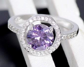 Beautiful purple and white CZ diamond ring