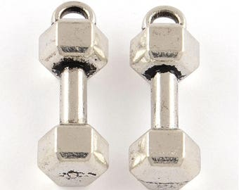 Bulk Dumbbell Barbell Charm Pendant Weight Lifting 20.5x10.5mm Select Qty