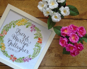 Personalised, watercolour, Wedding Gift, Framed, Print, Wedding names and Date.