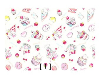 Lecien NIKO NIKO LAND Collection Sweets Japanese Fabric 100% cotton 20 oxford width 110cm (by the 100cm)