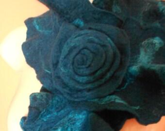 New Handmade Merino Wool Ruffled Felted Soft Lace Scarf Collar