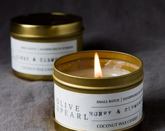 Honey & Clementine - Natural Coconut Wax Candle - Small Batch - Hand Poured - Gold Tin