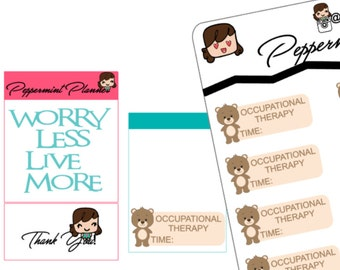 Teddy Bear Occupational Therapy Stickers or Blank Teddy Bear Stickers, Planner Stickers  {#132}