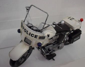 Motorcycle Police designed handmade materials recycling polished 37 cm length