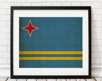 Aruba Flag Art, Aruba Flag Print, Flag Poster, Country Flags, Flag Painting, Aruba Poster, Wall Decor, Wall Art, Gifts, Industrial Art