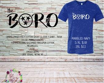 "Unisex ringspun cotton short sleeve t-shirt featuring ""BORO"" design,"