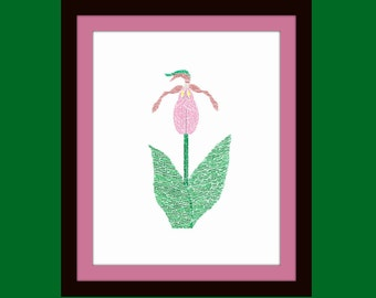 Pink Lady Slipper limited edition 8 x 10 giclee print