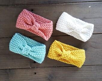 Crochet Baby Girl Headband, Pastel Crochet Baby Girl Headband, Knit Headband, Baby Girl Elastic Headband