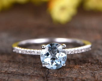 6.5mm round cut blue aquamarine engagement ring,14k white gold diamond wedding band,anniversary ring,half eternity diamond band,gift for her