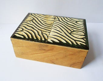 Unusual Vintage Wooden Jewellery Box, Carved Lid