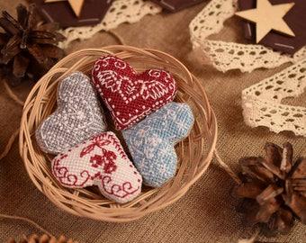 Hygge Hearts - modern cross-stitch PDF pattern, instant download, scandinavian style, heart, love, bird, wings, berries, nordic, Valentine
