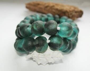 Kroboperlen XXL, turquoise, Sea Glass, sea blue, recycling glass beads, glass beads, Africa/Ghana, 18 mm, extruded goods,.