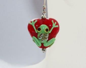 Earrings, earrings, heart earrings, Silver earrings, sterling silver, hand made, frog, frog heart, red with green, ear-hook hand made,