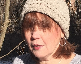 Lace on top - eyelet beanie hat