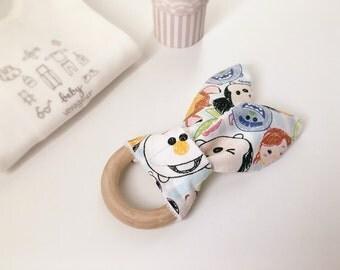 Rabbit Baby Teether - baby teether, teething ring, teething toy, baby teething toy, wooden ring teether, baby teething ring, teether toys