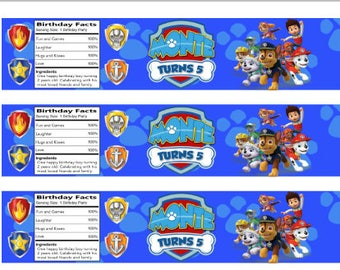 Personalized Paw Patrol water bottle labels !