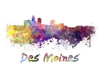 Des Moines skyline watercolor canvas,  Des Moines Canvas, Des Moines wall art, Des Moines Canvas Wall Art, Des Moines wall art canvas,