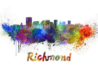 Richmond skyline watercolor canvas,  Richmond Canvas, Richmond wall art, Richmond Canvas Wall Art, Richmond wall art canvas, Richmond