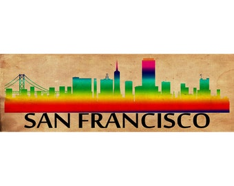 San Francisco Skyline, San Francisco Skyline Printed on Canvas, City of San Francisco, Large San Francisco, 3 Panel, Rainbow Wall Art Canvas