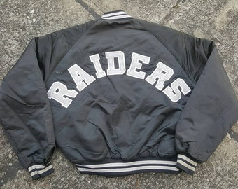 Vintage Chalk Line Oakland Raiders Varsity College Satin Jacket Front Back Spell Out Very Rare NWA Eazy-E Dr. Dre Straight Outta Compton