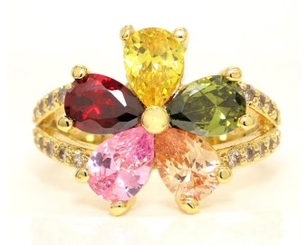 Amazing 18K yellow gold flower ring, red pink green citrine and yellow gems, Real gold flower ring, Teardrop gemstones, 18K flower, gift box