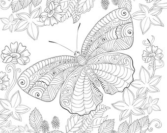 Biutterfly Coloring Page For Calm, Relaxation, and Stress Relief - Adult Coloring Book Art Page Print Instantly