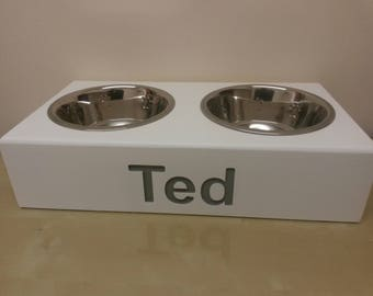 wooden dog PERSONALISED FEEDING STATIONS elevated stand raised with 21cm stainless steel bowls