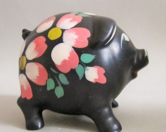 Vintage 1950's Black China Piggy Bank Hand Painted Pink Flowers Shabby Chic Retro Kitsch Collector