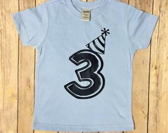 Boys Birthday shirt, birthday tshirt, 2nd birthday, 1st birthday, 3rd birthday, sky blue and navy, birthday hat