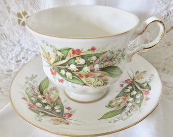 "Royal Vale Bone China Footed Teacup and Saucer ""Lilies of the Valley"" Pattern 8586"