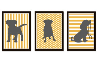 Puppy Dog Trio, Kids Wall Art for Nursery, Chevron, Stripes, CHOOSE YOUR COLORS, kids decor, nursery, puppy prints *1*
