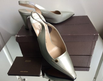 Vintage Louis Vuitton Shoes  in Silver patent leather  NEW never worn !