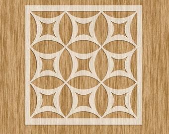 "Art Deco Tile Design Pattern Stencil - Sku PAD0100M (5.5"" x 5.5"")"